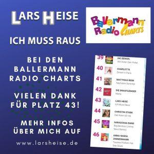 """""""Ich muss raus"""" in den Ballermann Radio Charts auf Platz 43"""